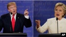 唐纳德·川普和希拉里·克林顿在第三次候选人辩论中(2016年10月19日)