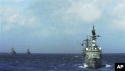 지난해 일본 해상지위대와 미 해군의 합동 훈련. (자료사진)