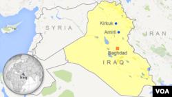 Peta wilayah Irak dan lokasi kota Amerli.