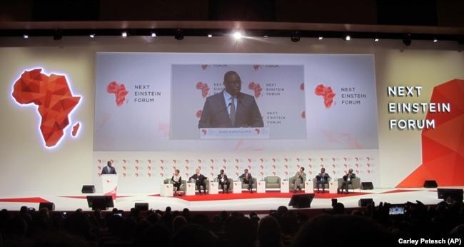 Senegal President Macky Sall spoke at the forum for Next Einstein fellows held in Diamniadio, Senegal, Tuesday, March 8, 2016.