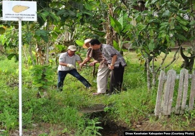 Petugas Survailens Dinas Kesehatan Kabupaten Poso, Sulawesi Tengah mengambil sampel keong Oncomelania seukuran buah padi untuk diteliti bila positif mengandung Serkaria cacing Schistosoma, di salah satu lokasi fokus Keong di Tomehipi Lore Barat Kabupaten