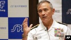 Kepala Komando Pasifik AS, Laksamana Harry Harris Jr. berbicara di Tokyo, Rabu (17/5).