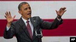 22일 미국 중서부 위스콘신주 밀워키 극장에서 선거운동을 펼치는 바락 오바마 미국 대통령