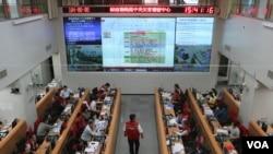 台湾中央灾害应急中心指挥室(美国之音杨明拍摄)