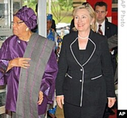 President Sirleaf with U.S. Secretary of State Hillary Clinton