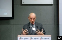 On Jan. 29, 2013, WTO director general Pascal Lamy speaks during a WTO gathering in New Delhi, India.