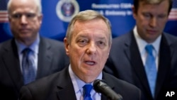 FILE - U.S. Senator Richard Durbin speaks during a news conference in Kyiv, Ukraine, March 15, 2014.
