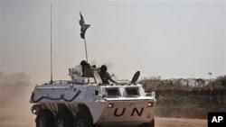 A UNMIS peacekeeper patrol in an APC in Abyei, Sothern Sudan, March 11, 2011