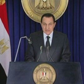 President Hosni Mubarak during a broadcast in which he said he had asked his cabinet to resign