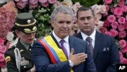 El presidente de Colombia, Iván Duque, luego de recibir la banda presidencial durante su ceremonia de inauguración en Bogotá, Colombia, el 7 de agosto de 2018.