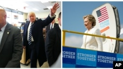 U.S. Republican presidential nominee Donald Trump in King of Prussia, Pennsylvania, and Democrat Hillary Clinton arriving in Lakeland, Florida, Nov. 1, 2016.