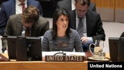 نیکی هیلی سفیر ایالات متحده آمریکا در سازمان ملل.