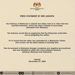 """Kedutaan Besar Malaysia di Jakarta melalui akun Facebook-nya mengatakan """"pihak berwenang Malaysia sedang menyelidiki masalah ini."""" (Foto: Facebook)"""