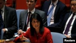 니키 헤일리 유엔주재 미국대사가 지난 5일 유엔 안보리에서 열린 북한 ICBM 발사 대응 긴급회의에서 발언하고 있다.