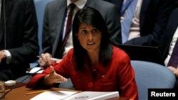 니키 헤일리 유엔주재 미국대사가 지난 5일 유엔 안보리에서 열린 북한 ICBM 발사 대응 긴급회의에서 발언하고 있다. (자료사진)