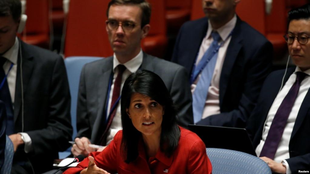 Đại sứ Mỹ tại Liên hiệp quốc Nikki Haley lên án Bắc Triều Tiên tại trụ sở Liên hiệp quốc, New York, ngày 5/7/17