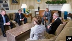 美国总统奥巴马在白宫会见国会领袖(2014年6月18日)