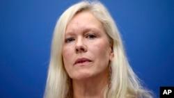前瑞典驻中国大使林戴安(Anna Lindstedt)2013年11月5日在斯德哥尔摩的一个记者会上。