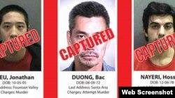 Ba tù nhân vượt ngục Jonathan Tieu, Bac Duong Hossein Nayeri đã bị bắt lại.