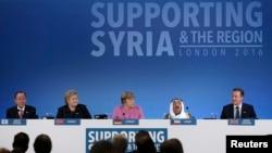 Thủ tướng David Cameron của Anh phát biểu tại Hội nghị các nhà tài trợ cho Syria tại London, ngày 4/2/2016.
