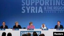 Từ trái sang: Tổng thư ký LHQ Ban Ki-moon, Thủ tướng Na Uy Erna Solberg, Thủ tướng Đức Angela Merkel, and Quốc vương Kuwait Sheikh Sabah al-Ahmad al-Sabah trong cuộc họp ở London, Anh, ngày 4/2/2016.