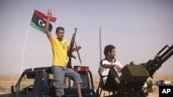 Combattants anti-Kadhafi, entre Tarhouna et Bani Walid (4 sept. 2011)
