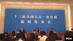 中国人大2018年3月4日召开记者会(视频截图)