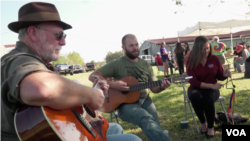 """Locals play music in a scene from """"Protecting the Coast in Cajun Country"""""""