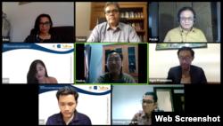 Diskusi daring Data dan Sains dalam Kebijakan Penanganan COVID-19. (Foto: Screenshot)