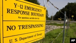 A photo a sign warns against trespassing onto the Y-12 National Security Complex in Oak Ridge, Tenn. (File)