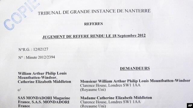 Bản sao án lệnh của một tòa án Pháp về vụ bức ảnh của công nương Kate