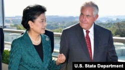 U.S. Secretary of State Rex Tillerson and Chinese Vice Premier Liu Yandong. September 28, 2017.