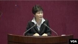 韩国总统朴槿惠24号向国会发表讲话要求修宪