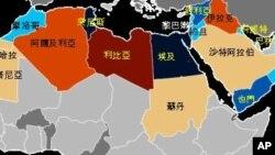 阿拉伯之春地圖