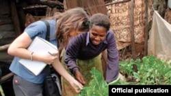 Author Danielle Nierenberg visits an urban gardening project in Kibera, Kenya—Africa's largest urban slum. (Credit: Bernard Pollack)