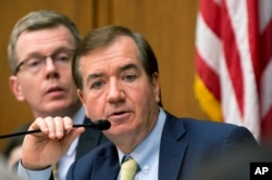 "FILE - House Foreign Affairs Committee Chairman Rep. Ed Royce, R-Calif. speaks on Capitol Hill in Washington, Jan. 7, 2016. ""Once again, the Obama administration is handing Iran's radical regime more cash,"" Royce said of the U.S. purchasing heavy water from Iran."