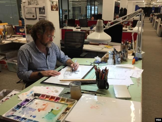 Matt Wuerker, a Pulitzer-Prize winning cartoonist at Politico, creates an average of three cartoons a week. (J.Taboh/VOA)
