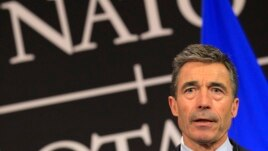 NATO Secretary-General Anders Fogh Rasmussen holds news conference at Alliance headquarters, Brussels, April 23, 2013 file photo.