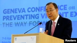 U.N. Secretary-General Ban Ki-moon addresses the Conference on the Prevention of Violent Extremism at the United Nations in Geneva, Switzerland, April 8, 2016.
