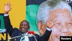 Icegere ca Perezida w'Afrika y'epfo, Cyril Ramaphosa mu birori vyo kwibuka imyaka ijana ya Nelson Mandela, Cape Town, Ukwezi kwa kabiri, itariki 11, 2018.