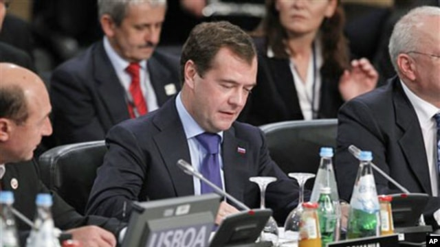 Russian President Dmitry Medvedev at the NATO Russia Council Meeting in Lisbon, Portugal, 20 November 2010