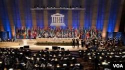El canciller palestino Ryad al Malki pronunció un discurso ante la Asamblea General de la UNESCO en París.