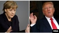 도널드 트럼프(오른쪽) 미국 대통령과 앙겔라 메르켈 독일 총리.