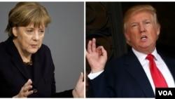德国总理默克尔和美国总统川普。(合成图片)