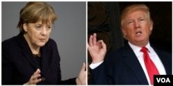 FILE - German Chancellor Angela Merkel and President Donald Trump are shown in composite file photos.