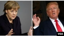 FILE - German Chancellor Angela Merkel and President-elect Donald Trump are shown in this composite image created from wire photos. Merkel heads to Washington on Monday ahead of her first meeting with Trump.