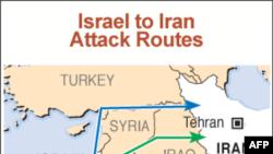 Mapa vazdušnih ruta kojim bi Izrael mogao da izvrši napad na Iran
