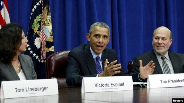 美國總統奧巴馬在首都華盛頓美國農業部出席有關TPP的農業與商界領導人會議。 (2015年10月6日)