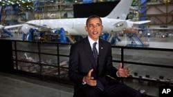 奧巴馬在波音飛機機庫呼籲改善美國出口信貸。