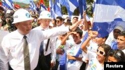 尼加拉瓜運河開發投資公司總裁王靖﹐在12月22號的破土動工儀式上。